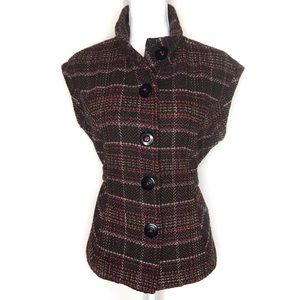 CAbi Women's Cinch It Up Tweed Button Front Vest